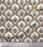 Soimoi Braun Baumwoll-Voile Stoff Paisley & Ogee Damast Stoff drucken 1 Meter 42 Zoll breit