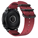 Fintie Armband für Galaxy Watch 42mm & Gear Sport & Gear S2 Classic - Premium Nylon Uhrenarmband verstellbares Sport Ersatzband mit Edelstahlschnallen, Rot