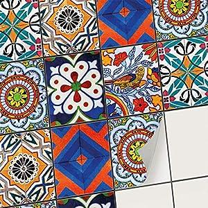 creatisto Mosaik-Fliesen Fliesensticker Fliesenfolie - Hochwertige Sticker Aufkleber für Wandfliesen I Klebefliesen Deko Folien für Fliesen Ornament in Bad u. Küche (20x25 cm I 6 -Teilig)