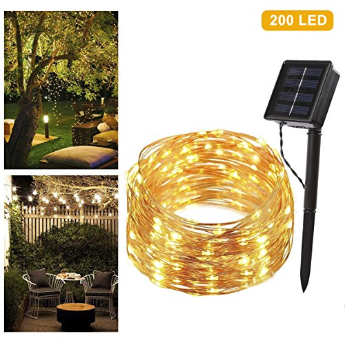 Lichterkette Solar B-right 200 LEDs Kupfer Lichterkette, Wasserdicht, Warmweiß, LED Solarlichterkette, LED Solarleuchte, Solarlampe, Innen- und Außen Weihnachtsbeleuchtung für Garten Weihnachten Hochzeit Party