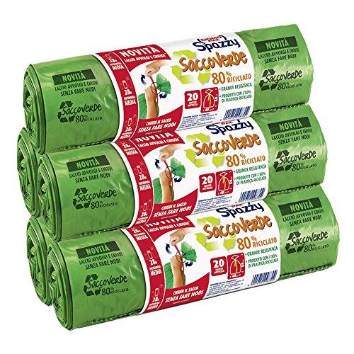 Domopak Spazzy Sacchi Nettezza Saccoverde Avvolgi & Chiudi - Casalingo 28 lt - Verde - 5 confezioni da 20 pezzi