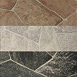 PVC Vinyl-Bodenbelag Bruchstein-Optik rot-braun | CV PVC-Belag verfügbar in der Breite 200 cm & Länge 100 cm | CV-Boden wird in benötigter Größe als Meterware geliefert & pflegeleicht