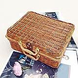 Jeteven geflochtene Aufbewahrungsbox Rattan regel Box Korb Kiste Weide Aufbewahrungskiste für spielzeug Kosmetik Brotkorb mit Futter einkaufskörbe mit Deckel und Griff 30 x 22 x13.5cm braun 30*22*13.5cm