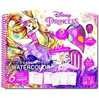 DISNEY Princess Magic Deluxe Watercolor Painting Activity Drawing Set   Glitter Embossed Illustrations with Cinderella, Ariel and Rapunzel   Learn Watercolour tricks and techniques with this Amazing Style Me UP Arts & Crafts Set
