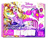 DISNEY Princess Magic Deluxe Watercolor Painting Activity Drawing Set | Glitter Embossed Illustrations with Cinderella, Ariel and Rapunzel | Learn Watercolour tricks and techniques with this Amazing Style Me UP Arts & Crafts Set