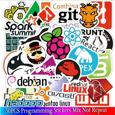 ZHENGJIB 50 Stück Internet Cloud Programmiersprache App Coole Aufkleber Für Laptop Auto DIY Aufkleber