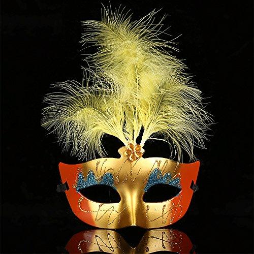 OOFAY Feder Maske Flauschige Maske Maskerade Halloween Party Geburtstag Praty Maskerade Karneval Maske (10 Stück),Orange