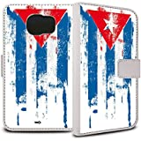 YOUNiiK Booklet Case Tasche (weiß) für Samsung Galaxy S6 SM-G920F - Kuba Paint Flag