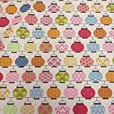 Stoff Baumwollstoff Meterware Japan Lampions rosa grün