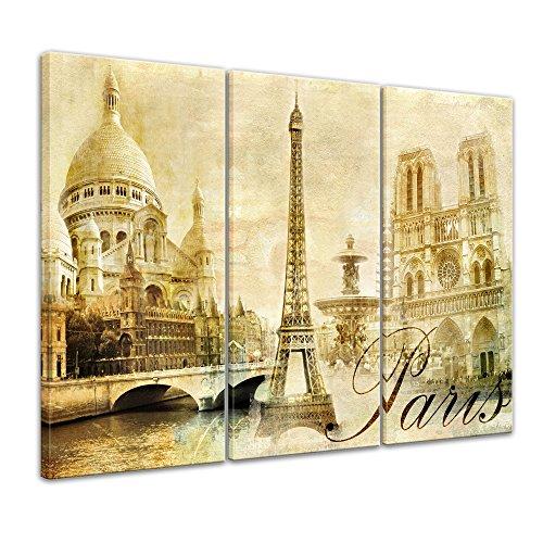 Kunstdruck - Paris - Bild auf Leinwand - 150 x 90 cm 3tlg - Leinwandbilder - Bilder als Leinwanddruck - Wandbild von Bilderdepot24 - Städte & Kulturen - Europa - Frankreich - Collage