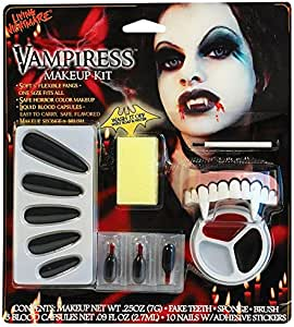 Halloween Vampire Teeth Makeup Kit Fake Blood Face Paint ...