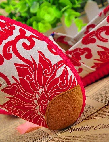 ShangYi DONNE - Ballerine - Comoda/Innovativo/Punta arrotondata - Piatto Di corda - Blu/Rosso Red