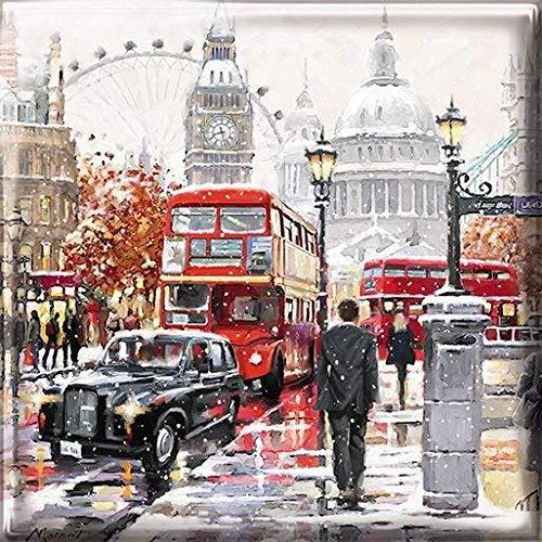 Tarjetas Navidad lujo med3907-Londres nieve-Caja