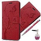 Kasos - Etui Housse pour Huawei P10 Lite avec stand horizontale, Fermeture Porte-carte Magnétique dans Désign View – Coque Case Cover Bumper Portefeuille -Rouge