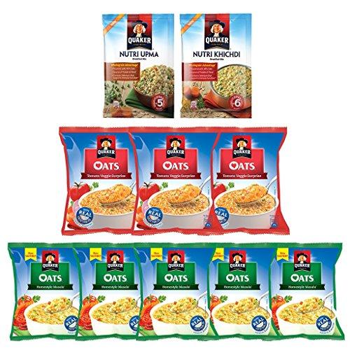 Quaker Oats Combo (homestyle Masala 5 Units 40g Each, Tomato Veggie 3 Units 40g Each, Nutri Oats Khichdi 1 Unit 40g ,nutri Oats Upma 1 Unit 40g)