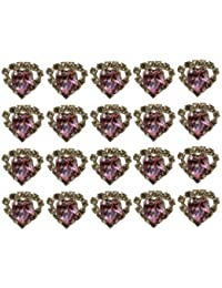 Jewellery of Lords 20 Pink Heart Shaped Large Coloured Crystal Hair Pin with Clear Mounted Crystals Hairpin