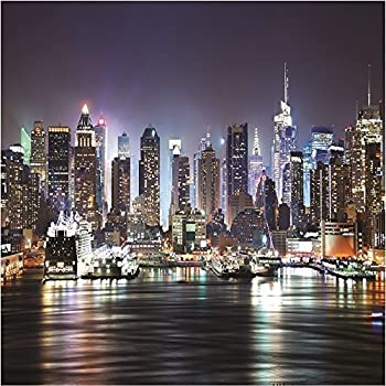 giant photo wallpaper new york city by night skyline ny wall mural x. Black Bedroom Furniture Sets. Home Design Ideas
