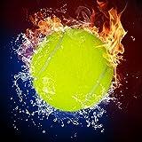 Pitaara Box PB Tennis Ball in Fire Flames & Splashing Water Peel & Stick Vinyl Wall Sticker 24 x 24inch