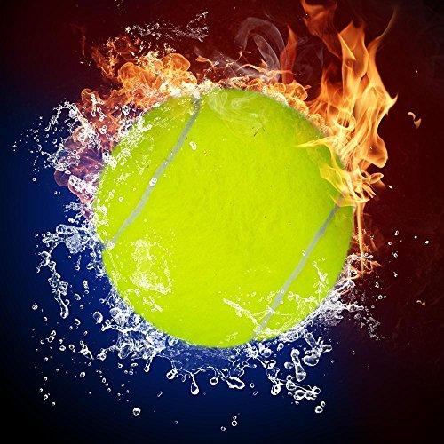 Pitaara Box Tennis Ball In Fire Flames & Splashing Water Peel & Stick Vinyl Wall Sticker 24 X 24Inch (Vinyl Peel-stick)