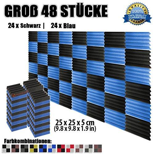 super-dash-48-stuck-von-25-x-25-x-5-cm-schwarz-blau-keil-akustikschaumstoff-noppenschaumstoff-akusti