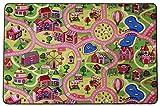 Spielteppich Straße Kinderteppich Sweet City - 95x200cm, Anti-Schmutz-Schicht, Auto-Spielteppich für Mädchen, Spielmatte Fußbodenheizung geeignet