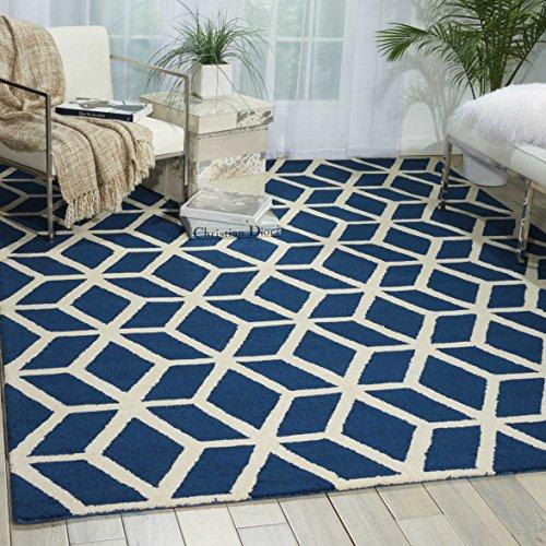 Nourison Teppich Mondrian 99446220370-Blue/Ivory handgewebt Teppich, blau/elfenbeinfarben, 3ft 9Zoll x 5ft 9Zoll - Nourison Teppich Blau