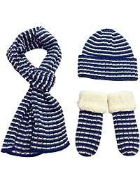 35254556b8c4 FEOYA Lot de 3 PCS Bonnet + Echarpe + Gants Tricot Rayures Enfant Fille  Garçon Beanie Crochet Hiver Chaud Epais…