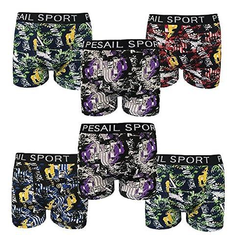 Lot de 4 ou 6 Shorts Boxer Homme de SPORT Caleçons PESAIL Sous-vêtements en Coton Tailles M-3XL