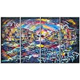 "Designart PT6069-271 4 Piece ""Surreal City At Night Cityscape Large"" Canvas Artwork, Blue, 48x28"""