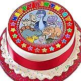 """Vorgeschnittener, roter Dinosaurier-Kuchenaufsatz mit der Aufschrift """"Happy Birthday"""", essbarer Zuckerguss"""