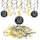 50. Geburtstag Dekoration Deko, Konsait 50. Geburtstag Swirl schwarz Partykette Girlande (15 Grafen) & Happy Birthday 30 Table Konfetti für Celebration 50 Jahre alt