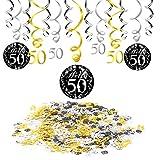 Konsait 50 cumpleaños negro colgar remolino decoración de techo (15 cuentas), feliz cumpleaños & 50 mesa confeti (1.05 oz) para decoraciones de 50 cumpleaños mujer hombre