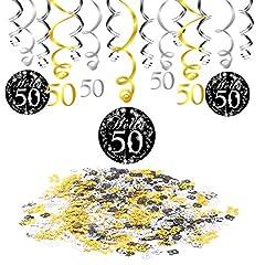 Idea Regalo - 50 anni compleanno decorazione, Konsait nero appeso soffitto spirale decorazione (15 conteggi), buon compleanno & 50 tavolo coriandoli (1,05 oz) per festa di 50 ° compleanno decorazioni