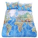 LightInTheBox Duvet Cover Pillow Shams Bedding Set Soft Microfiber Cotton World Map Design Printed Blue Twin Full Queen King Size