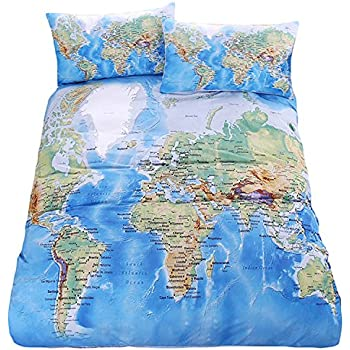 Just contempo vintage map duvet cover set single green amazon lightinthebox duvet cover pillow shams bedding set soft microfiber cotton world map design printed blue twin full queen king size gumiabroncs Gallery
