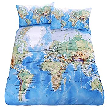 Lightinthebox duvet cover pillow shams bedding set soft microfiber lightinthebox duvet cover pillow shams bedding set soft microfiber cotton world map design printed blue twin full queen king size amazon kitchen gumiabroncs Image collections