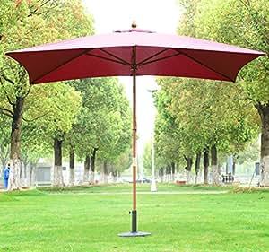 Outsunny - Ombrellone in Legno Ombrello Parasole da Esterno da Giardino 2x3m Bordeaux