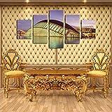 NHFGJ 5 Pieza de Impresiones sobre Lienzo Edificio Costa afuera Impresiones Obra de Arte Cartel Lienzos Imprimir Arte de la Pared para la Decoración del Hogar 150x80cm (Sin Marco)