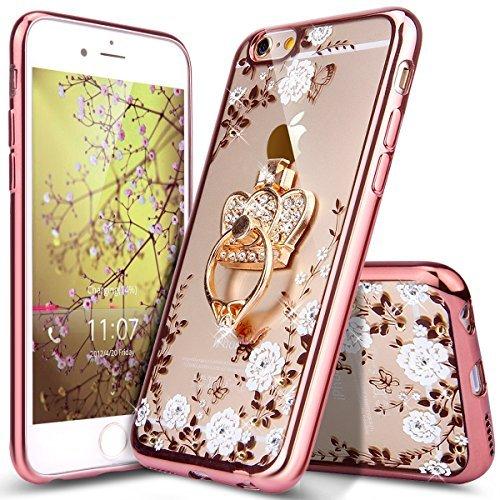 Kompatibel mit iPhone 6 Hülle,iPhone 6S Hülle,Glitzer Kristall Strass Diamant Blumen Überzug TPU Silikon Durchsichtig Schutzhülle Handyhülle Schale Etui Rose Gold Weiße Blumen mit Krone Ring-Ständer (Blume Kronen)