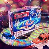 Magic Glow track presenta il bagliore nel buio traccia Twister-neon, la traccia modulare flessibile su 221 parti (più di 3 metri) Serie di auto da corsa, Pista Macchinine Auto Elettriche per Bambini immagine