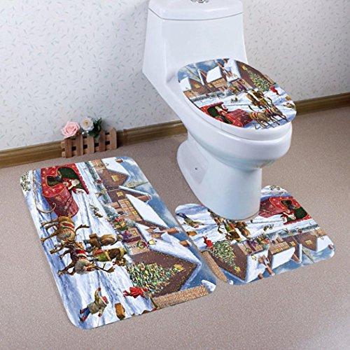 smileq 3Weihnachts Badematten Set rutschfeste Ständer Teppich Deckel WC-Deckelbezug Badteppich Set Weihnachts Geschenk Home Decor g Auto-lack-ständer