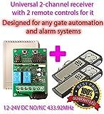 Sans fil sans fil Interrupteur récepteur radio 2canaux 12–24V NO/NC + 2émetteur manuel