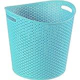 Curver 00715-X34-00 Wäschekorb My Style 30 L rund, Plastik, molokai blau, 39 x 39 x 37 cm