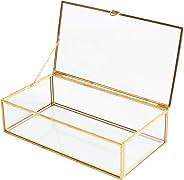 Golden Vintage Glass Lidded Box Edge Bracelet Keepsake Decorative Jewelry Display Personalized Large Clear Rectangle Box Ring