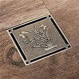 popowbe Antik Bronze Pflanzen Schmetterling Flower geschnitzt Art Ablauf Bad Abfälle Reiben unsichtbar Duschrinne 100mm x 100mm