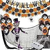 Halloween Decorazioni Halloween Kit XXL - Festone Happy Halloween, Festoni,Palloncini,Ragnatela,Ragno Gigante,Scheletro Articolato,Straccio Raccapricciante Nero Panno di Stoffa Spaventoso