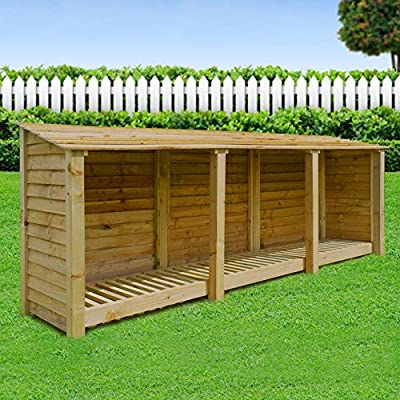 Empingham 4ft High Wooden Log Store/Garden Storage - Heavy Duty With Pressure Treated Wood