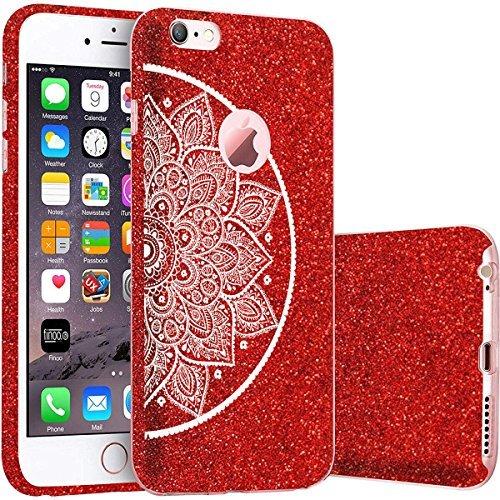 finoo   iPhone 5 / 5S Rote bedruckte Rundum 3 in 1 Glitzer Bling Bling Handy-Hülle   Silikon Schutz-hülle + Glitzer + PP Hülle   Weicher TPU Bumper Case Cover   Queen Black Kringel Henna 4