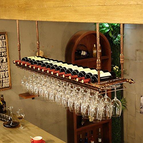 Weinregale Hanging Red Wine Stemware Racks, Deckenmontage hängende Weinflaschenhalter Metall Becher...