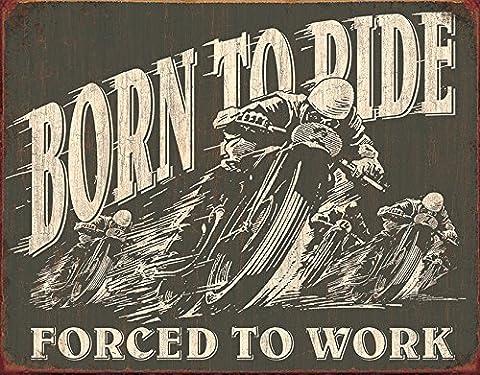 Large Motorbike Bike Garage BORN TO RIDE Vintage Retro Metal Tin Wall Sign 1885